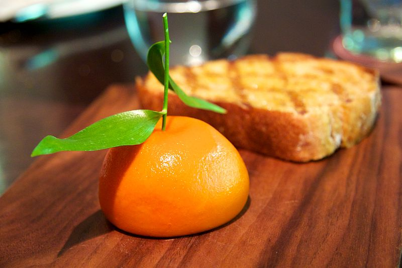 This is meat fruit. Didn't eat it (it's chicken liver parfait) but doesn't it just look gorgeous? source